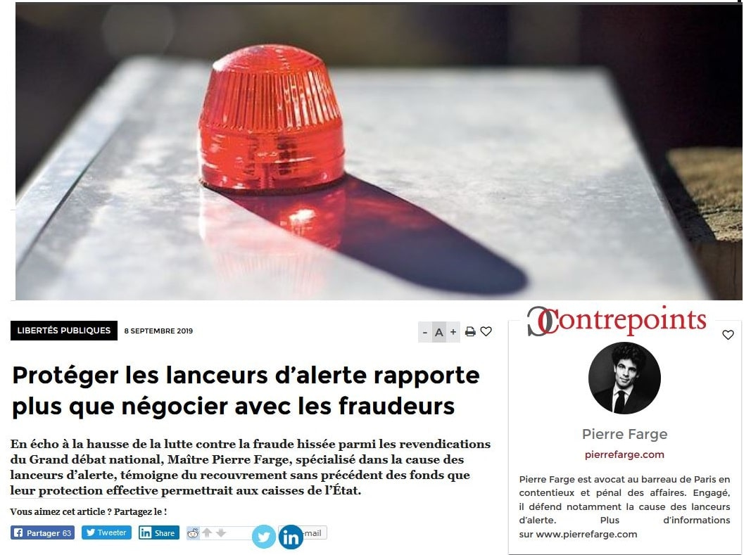 Protéger les lanceurs d'alerte rapporte plus que négocier avec les fraudeurs