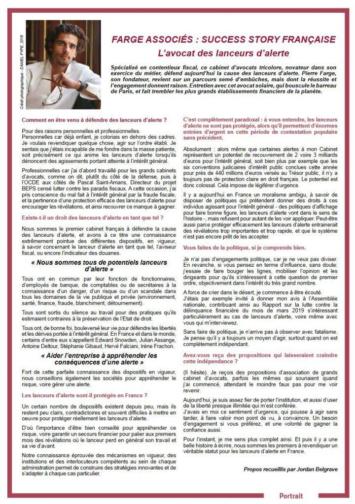 FARGE ASSOCIÉS : SUCCESS STORY FRANÇAISEL'avocat des lanceurs d'alerte