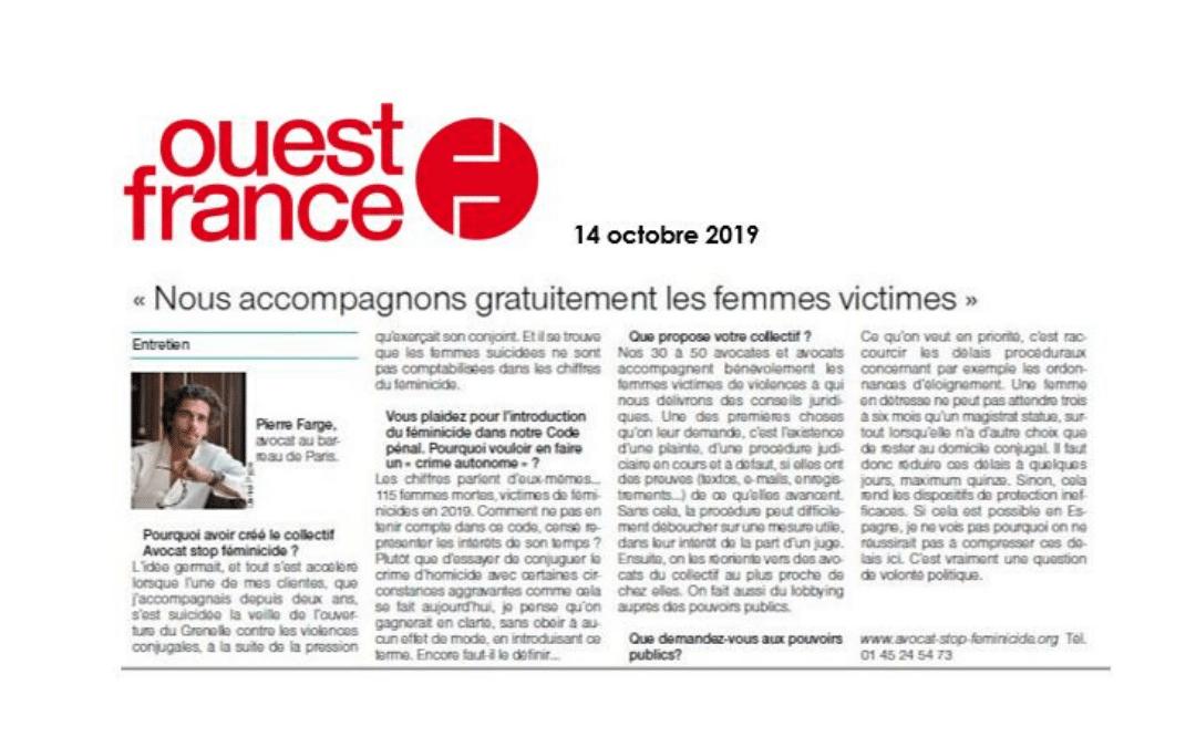 Violences conjugales : «Nous accompagnons gratuitement les femmes victimes» (Ouest France, oct 2019)