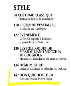 Dandy Magazine n°76 - Janvier 2020 - Pierre Farge au Sommaire