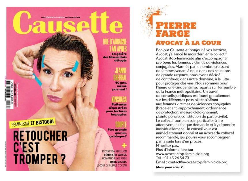 Le collectif Avocat Stop féminicide dans le magazine Causette