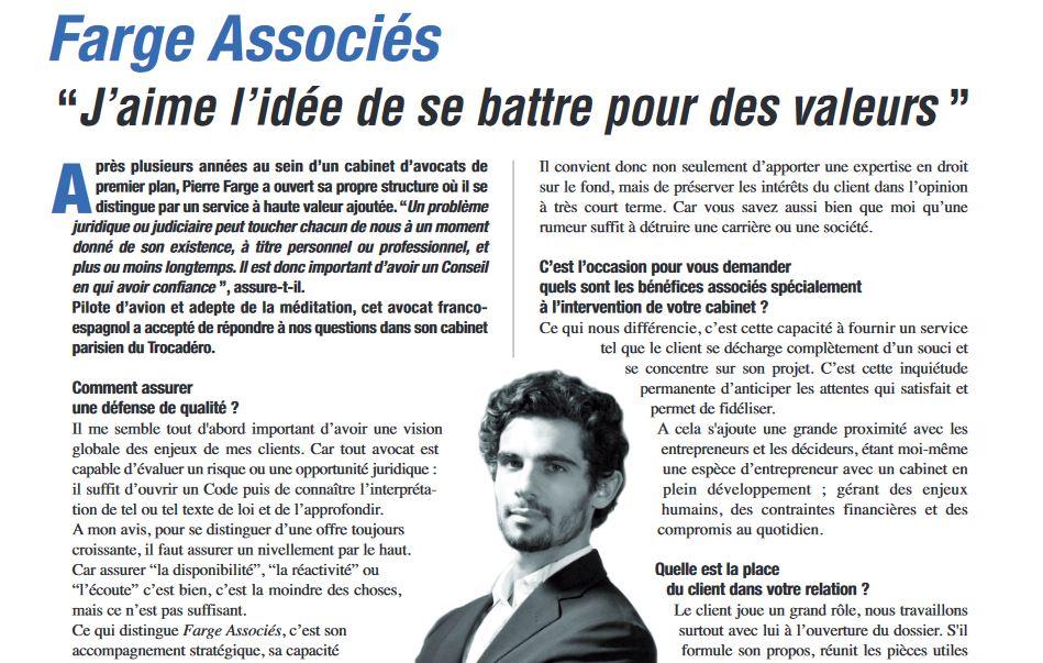 Farge Associés : J'aime l'idée de se battre pour des valeurs – Managers Magazine