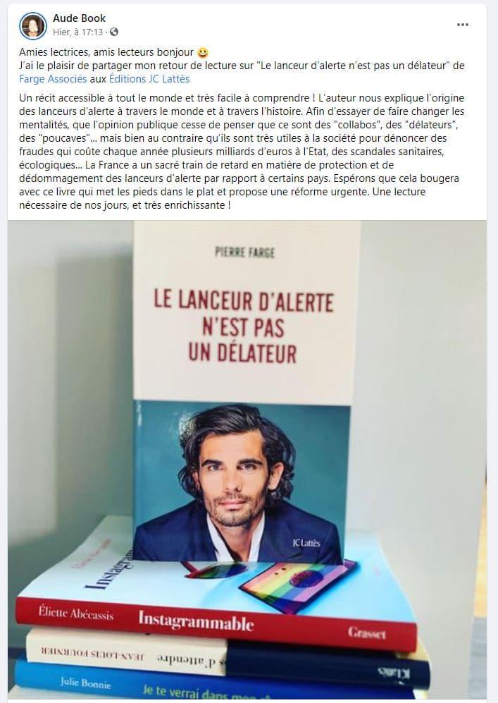 critique livre Pierre Farge sur facebook