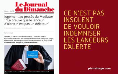 Jugement au procès du Mediator : La preuve que le lanceur d'alerte n'est pas un délateur (Le JDD)