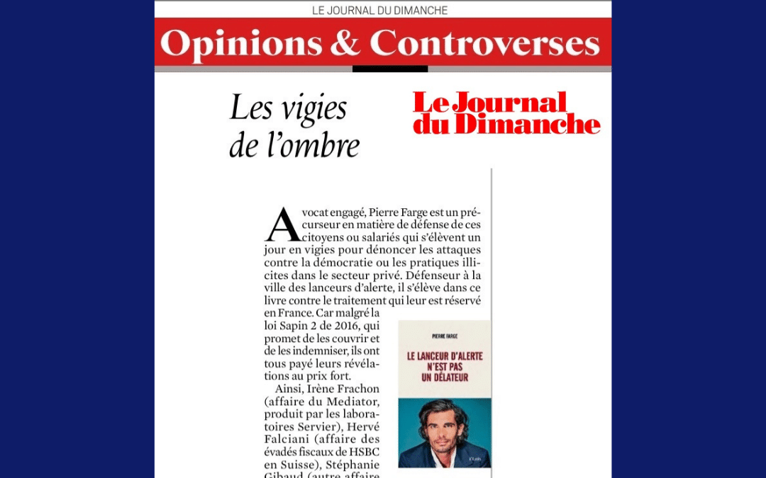 Chronique du livre de Pierre Farge dans Le Journal du Dimanche