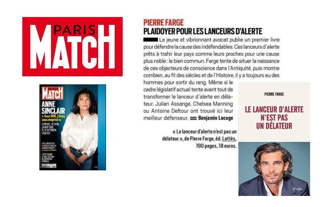 Chronique du livre de Pierre Farge dans Paris Match